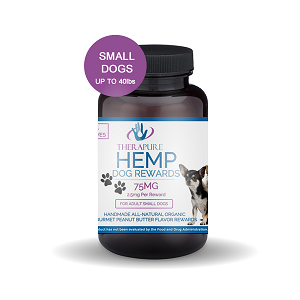 TheraPure Hemp Rewards for Small Dogs 1-40 lbs, 75mg, 2.5mg per serving, 30ct - Peanut Butter